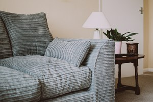 grey couch in household living room